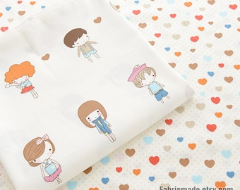 Cartoon Boys & Girls Cotton Fabric, Colorful Love Hearts Cotton Fabric For Baby Kids Quilting Clothing- 1/2 yard