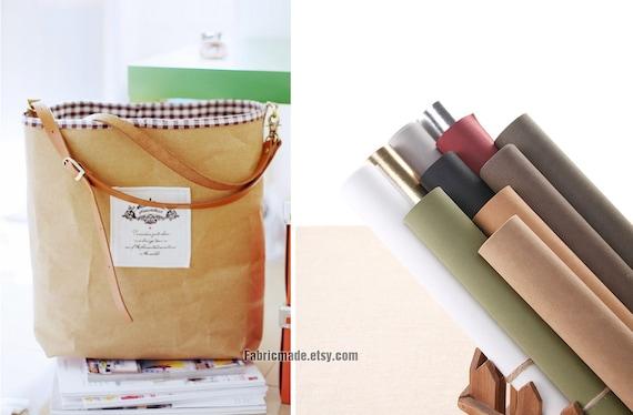 Sale-Germany Natural Kraft Paper Fabric Natural Washable Kraft Paper Bag, iPad case Label Card Case Fabric - A Fat Quarter