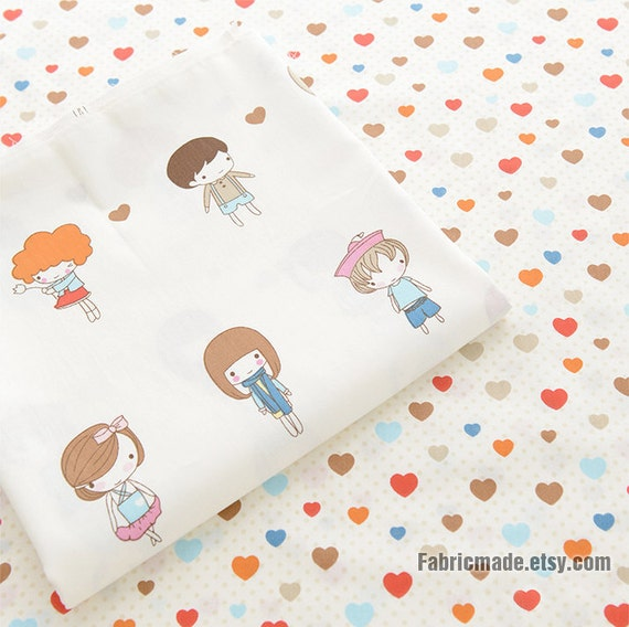 cartoon boys girls cotton fabric colorful love hearts