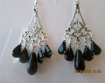 Silver Tone Chandelier Earrings with Black Crystal Beads and a Black Teardrop Pearl Dangles