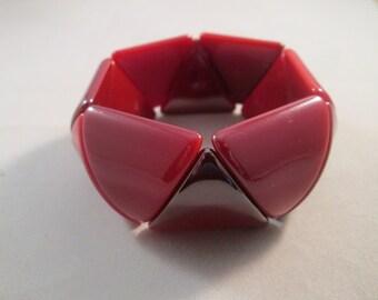 SALE Red Lucite Stretch Cuff Bracelet
