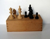 Vintage Hand Carved Chessmen, Made in France, Full Set, Original dovetailed wood box, gift idea
