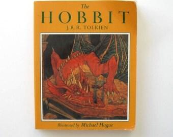 "Vintage ""The Hobbit"", illustrated by Michael Hague, J.R.R. Tolkien, circa 1966, paperback, classic literature, fantasy, gift idea"