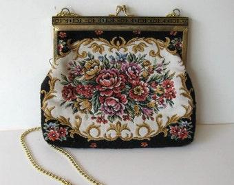 """SALE, Vintage Tapestry shoulder bag, Floral hand bag, Woman's Accessory, evening bag, Art Deco frame, 8"""" x  7"""", gift idea"""