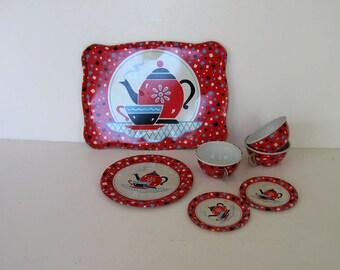 Vintage J Chien tin dishes, Toy, Retro Collectible, Red Tea set, Nursery decor,Tea pot, gift idea
