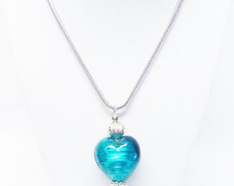 Large Puffy Teal Glass Heart Pendant Necklace