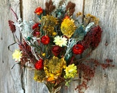 Dried Flower Bouquet Wedding Bridal Yellow Red Burgundy Blue Sunflower Strawflower  Dusty Miller Sumac  Shabby Chic Cottage