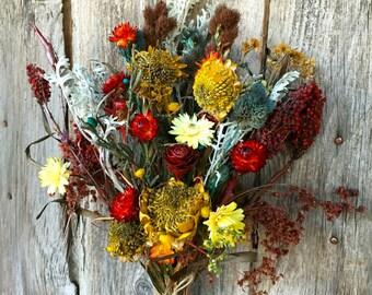 Dried Flower Bouquet Wedding Bridal Yellow Red Burgundy Blue Sunflower Strawflower  Dusty Miller Sumac  Shabby Chic Cottage