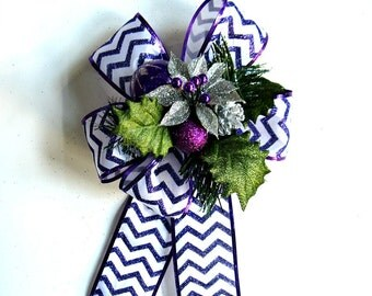 Large purple gift bow, Holiday tree bow, Christmas package bow, Purple bow for wreaths, Purple and silver glitter bow, Holiday decor (C559)