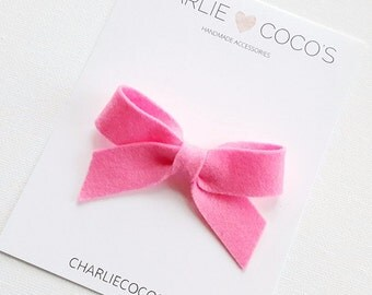 "SALE Baby / Girls Felt Bow Headband OR Hair Clip ""Neon Pink"" -Premium Wool Felt Bow by charlie coco's"