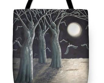 Sowing Seeds Surreal Landscape Fine Art Tote Bag, Tree of Life Tote Bag, Night Sky Tote Bag,
