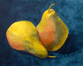 Pear Still Life Fine Art Print, Kitchen Decor, Pear Art, Yellow, Blue