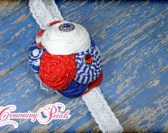 Red, White, Blue Striped Hair Accessory, Patriotic Hair Piece, Hair Clip, Poppy Red Hair Accessories, Royal Blue, July 4th Hair Bow, Hairbow