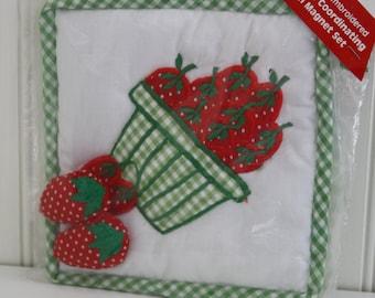 Vintage Strawberry Potholder and Magnet Set in Oringinal Packaging, NOS