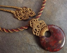 Macrame Necklace, Poppy Jasper Necklace, Kumihimo Necklace, Macrame Pendant, Red, Tan, Brown, Boho Necklace