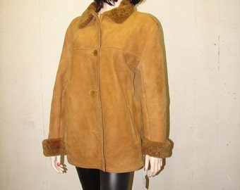 C-61 Vintage Genuine Sheepskin Shearling fur coat men jacket