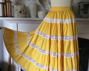 50s Yellow Mexican Tiered Patio Skirt