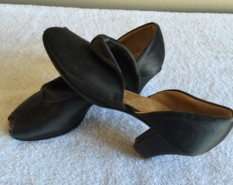 40s Black Satin Peep Toe Party Shoes