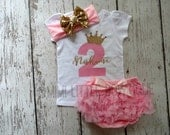 Personalized- Pink and gold  Second Birthday outfit- 2nd Birthday Outfit- pink and gold  Birthday Outfit- 2 birthday shirt-
