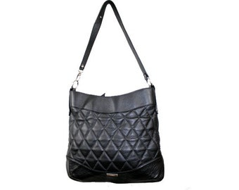 CLAUDE MONTANA  roomy  leather bag  90s black