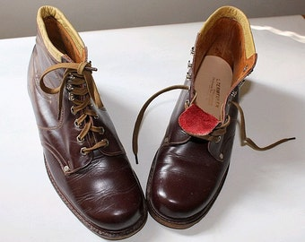 OLD french SHOES  ankle  burgundy leather us7.5 fr39