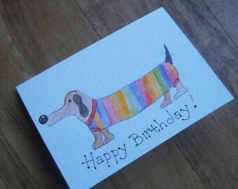 Rainbow dog Birthday card