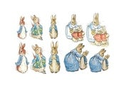 Set of 10 Iron On Heat Transfers - Peter Rabbit Appliques Babies or Kids, Gender Neutral