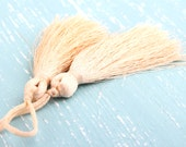 Champagne, Silk Thread Tassels, 2 pieces - Jewelry Supplies  // TAS-016