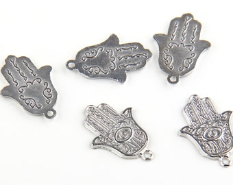 Silver Hamsa Charms, Hand of Fatima Charms, 5 pieces // SCh-113