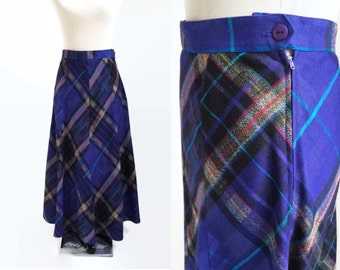 Vintage Maxi Skirt - Long Vintage Skirt - 90s 1990s - Purple Plaid Maxi