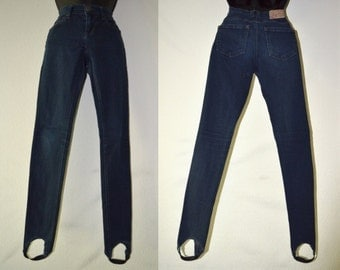 Stirrup Pants, Stirrup Jeans, Tyte Jeans, Dark Blue Denim, Junior's Jeans, Vintage Pants, Hipster, Ultra High Waist, 90's Pants