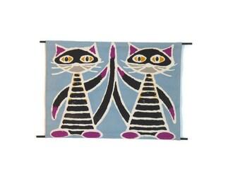 Cat Wall Art - Cloth Cat Print - Cat Silk Screen - 1970s Wall Art - Retro Cat - Free Shipping - 3PTT16