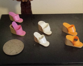 Lot of 3 Pairs of Vintage Barbie Wedge  Sandel Shoes, Vintage Barbie Doll Clothes Accessories