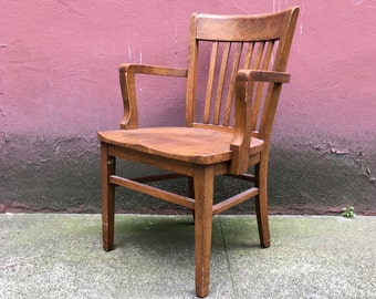 vintage oak banker's  chair by Marble & Shattuck Chair Co. retro office furniture. antique arm chair.