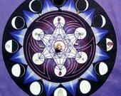 PURPLE Lunar Phase Metatron Moon Crystal Grid, Wall hanging Altar Cloth - Violet Ray Sacred Geometry Mandala Divination Art Lavender cloth