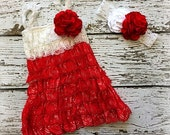 Flower Girl Dress - Valentine's Day Dress Outfit - Red and White Lace Outfit + Headband Kit - Red and White - Hair Bow - SALE!!