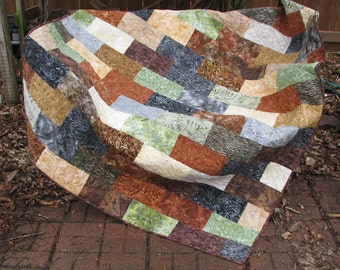 Lap Quilt, Sofa Quilt, Quilted Throw - Rocky Mountain Batik Lap Quilt