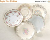 On Sale Vintage Mismatched China Saucers for Weddings Set of 5 Replacement China Bridal Luncheons Tea Party Hostess Gift Bridesmaid Gift