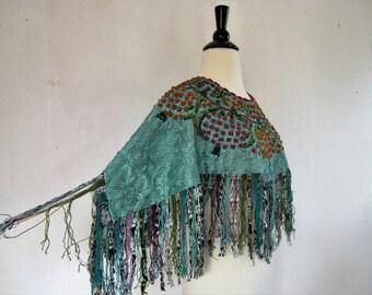 SALE Bohemian Fringe Poncho// Vintage 70's Beaded Fringe Cape -Shawl// Vintage Beaded Poncho