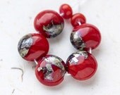 Blood red organic handmade lampwork glass beads with fine silver, set of seven, OOAK, eco-friendly craft supplies