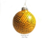 Yarn Ball Ornament Hand Painted - You Choose Color Made to Order