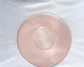 Dinner plate/ pink depression glass/ Foftecrisa Mexico pink swirl pattern/ 1930's/ addition to collection