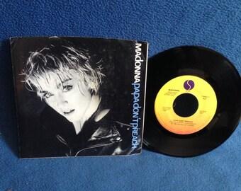 "RARE, Vintage, Madonna - ""Papa Don't Preach / Pretender"", 7"" 45 RPM Vinyl Single, Original Press, Pop, New Wave, True Blue"