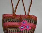 Colorful woven basket purse....Hippie tote....Beach bag....