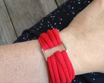 Twice Loved Tee...Upcycled T-shirt Cuff Bracelet...The Scarlett