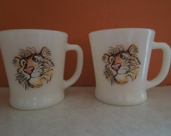 """Vintage Tony the Tiger """" Tiger in Your Tank"""" Fire King Collectible Coffee Cups"""