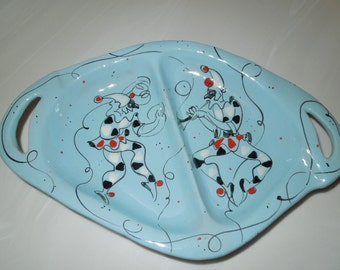 Rare Hand Painted Italian Jesters Sectioned Dish