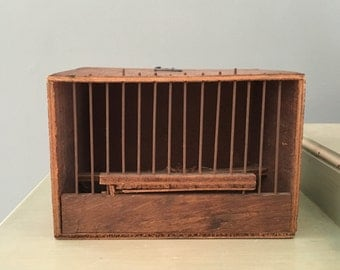 Vintage French Bird Market Wood and Metal Bird Cage