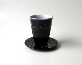 Pottery, Ceramic Cup and Saucer, Kiddish Cup, Judaica, Tea, Coffee Cup, in Midnight Blue and White by Cecilia Lind, StudioLind