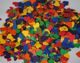 2000 Rainbow MINIATURE Heart Confetti.  ROYGBIV, Wedding Decoration. Parties, Events, Showers.
